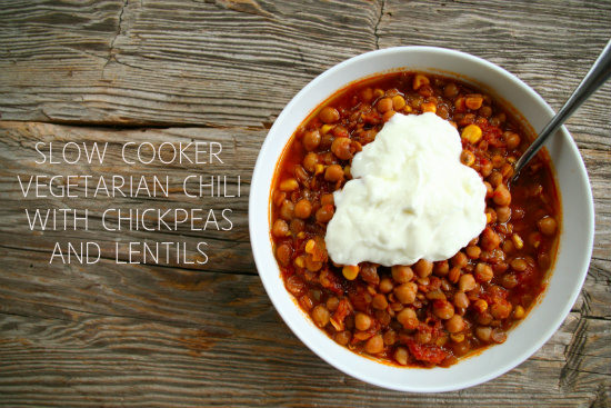 Slow Cooker Vegetarian Chili with Chickpeas and Lentils